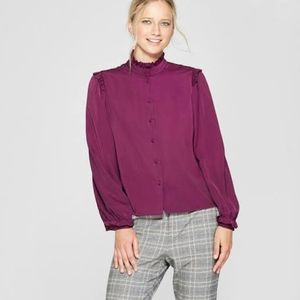 Who What Where Who What Wear Purple Ruffled Blouse